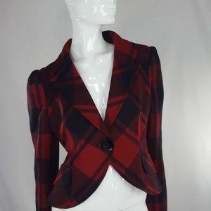 Arden B Red Plaid Wool Blend Jacket Blazer M
